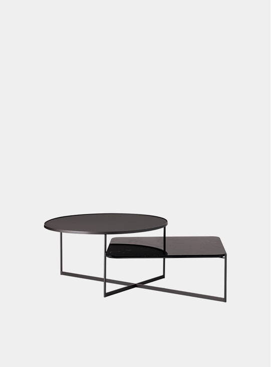 Etched Glass / Black Marble Mohana Coffee Table