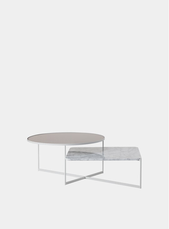 Fluted Glass / White Marble Mohana Coffee Table