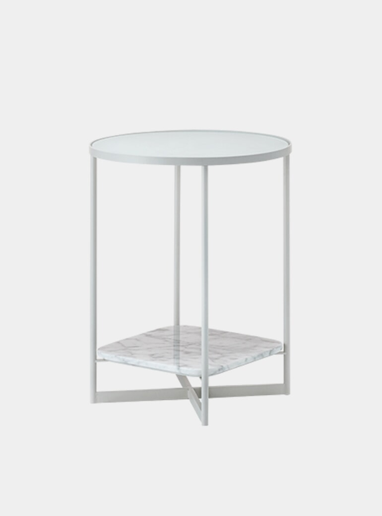 Spo1 Etched Glass White Marble Mohana Side Table Opumo