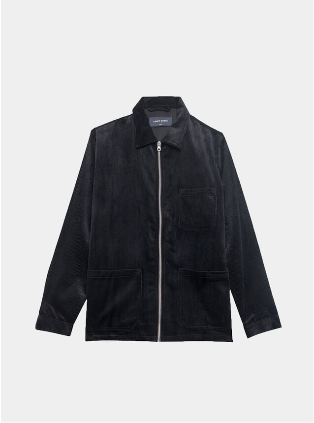 Black Zip-Up Corduroy Shirt