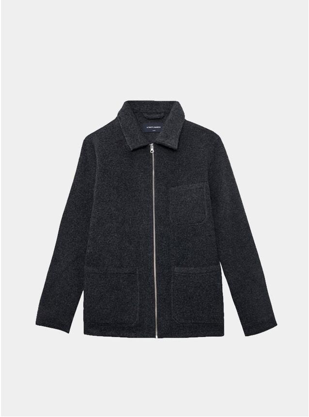 Charcoal Wool Teddy Zip-Up Overshirt