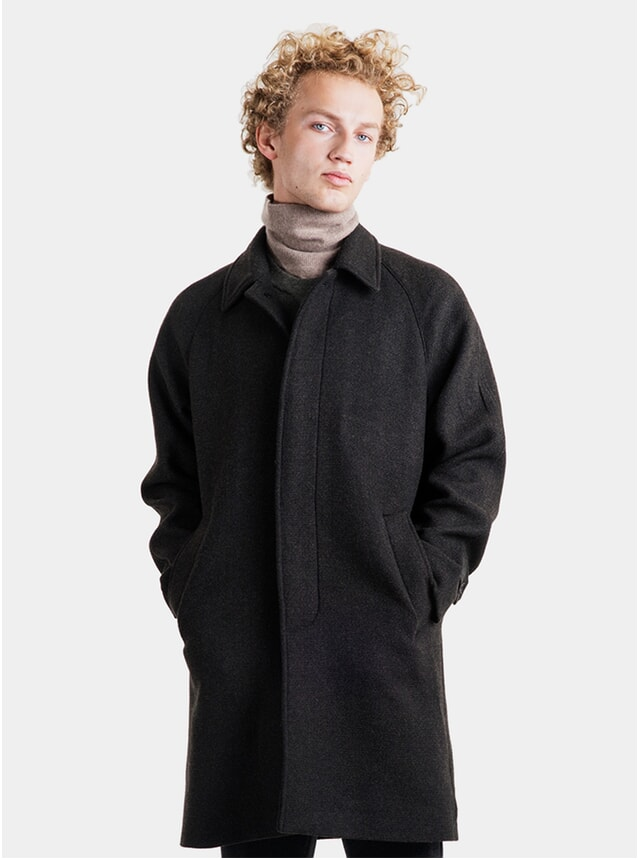 Dark Forest Melange Wool Car Coat