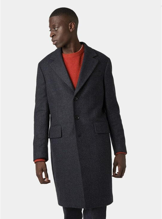 Dark Navy Checked Wool Classic Coat