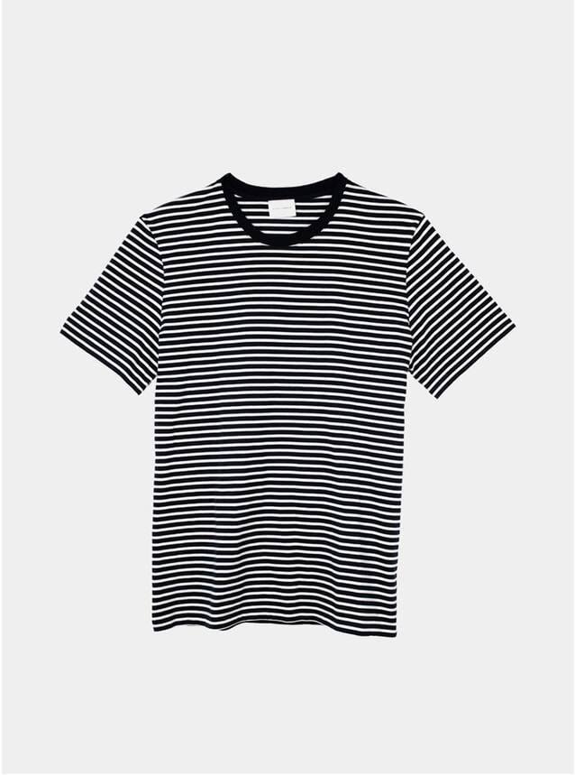 Dark Navy / Off White Striped T Shirt