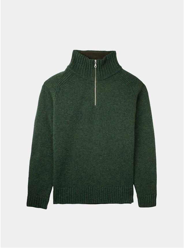 Forest Melange Half Zip Lambswool Sweater
