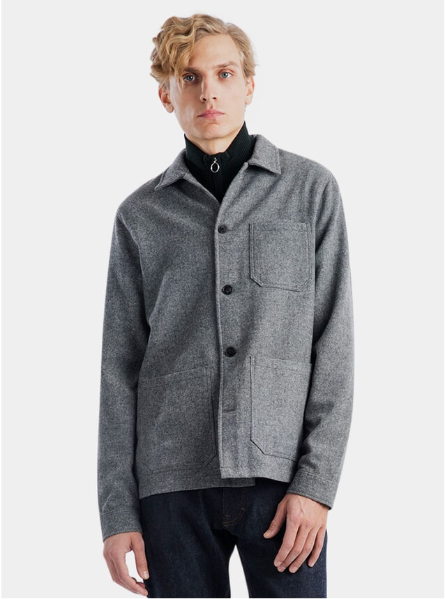 Grey Melange Original Wool Herringbone Overshirt