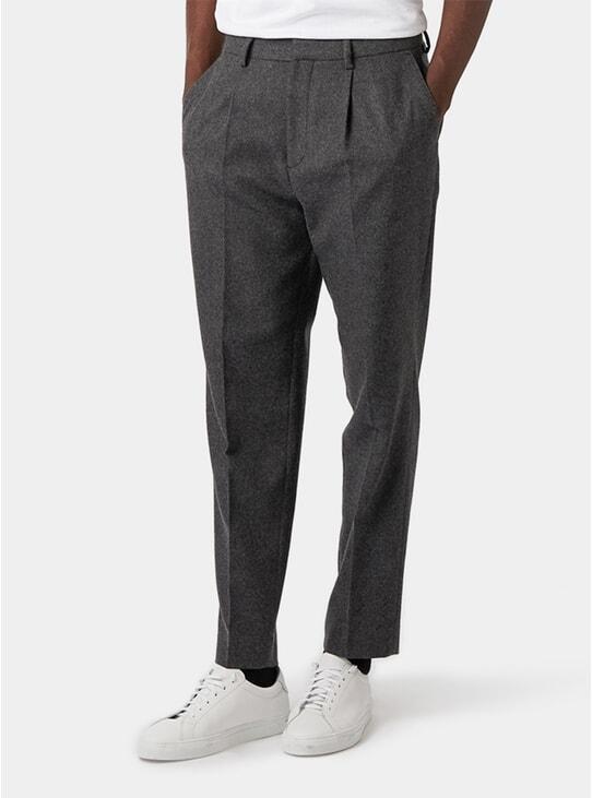 Grey Melange Wool Trousers