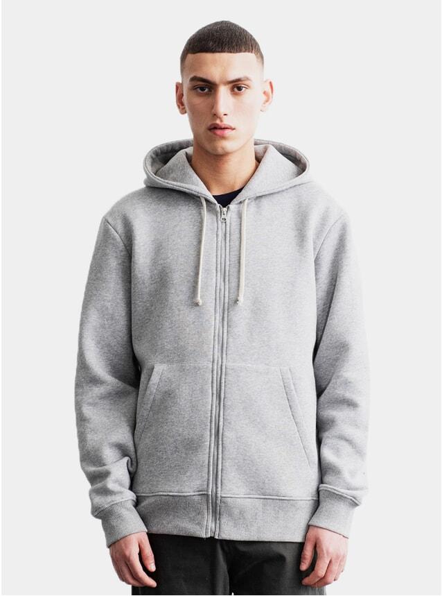 Grey Melange Zip Hoodie