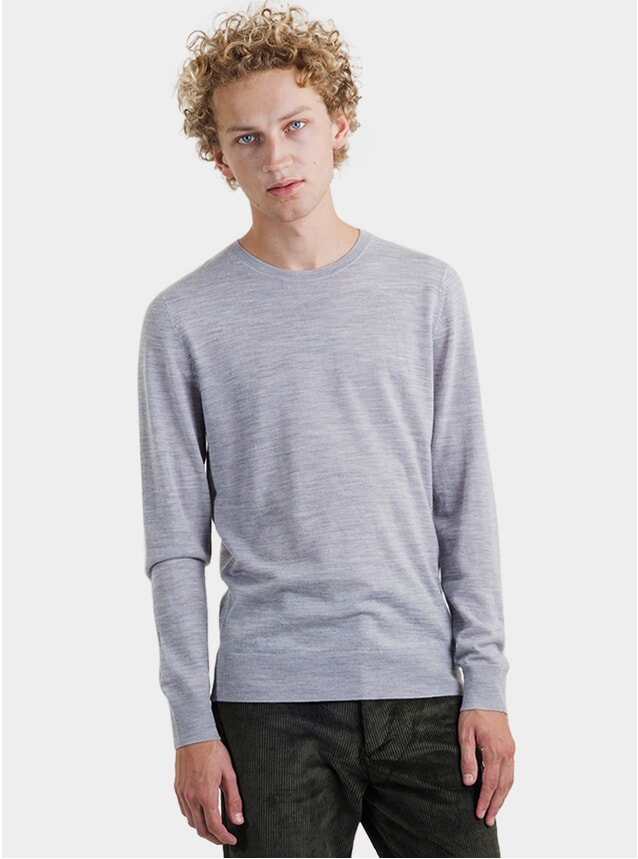Light Grey Melange Crew Neck