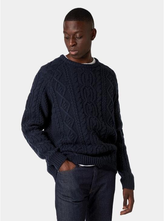 Navy Aran Sweater