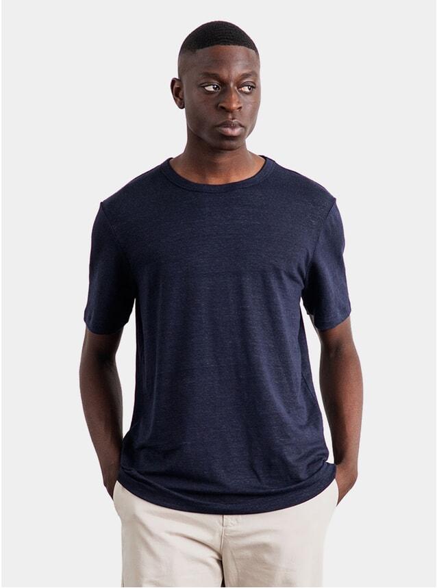 Navy Linen Heavy T Shirt