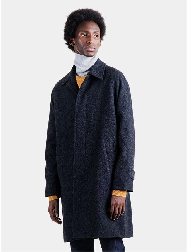 Navy Melange Wool Car Coat