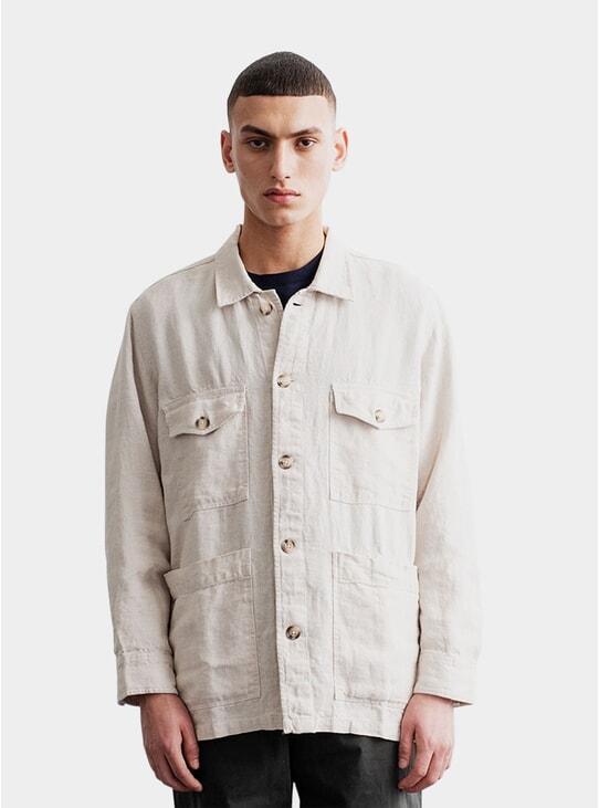 Oyster Heavy Linen Patch Pocket Overshirt