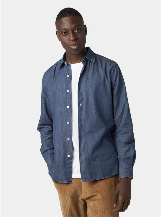 Washed Blue Clean Cut Denim Shirt