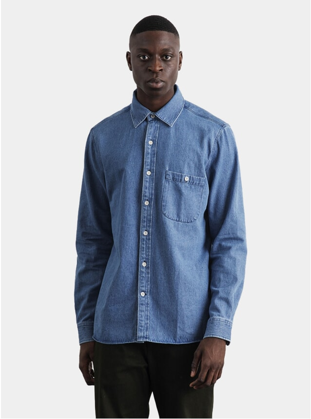 Washed Blue Denim Sturdy Shirt