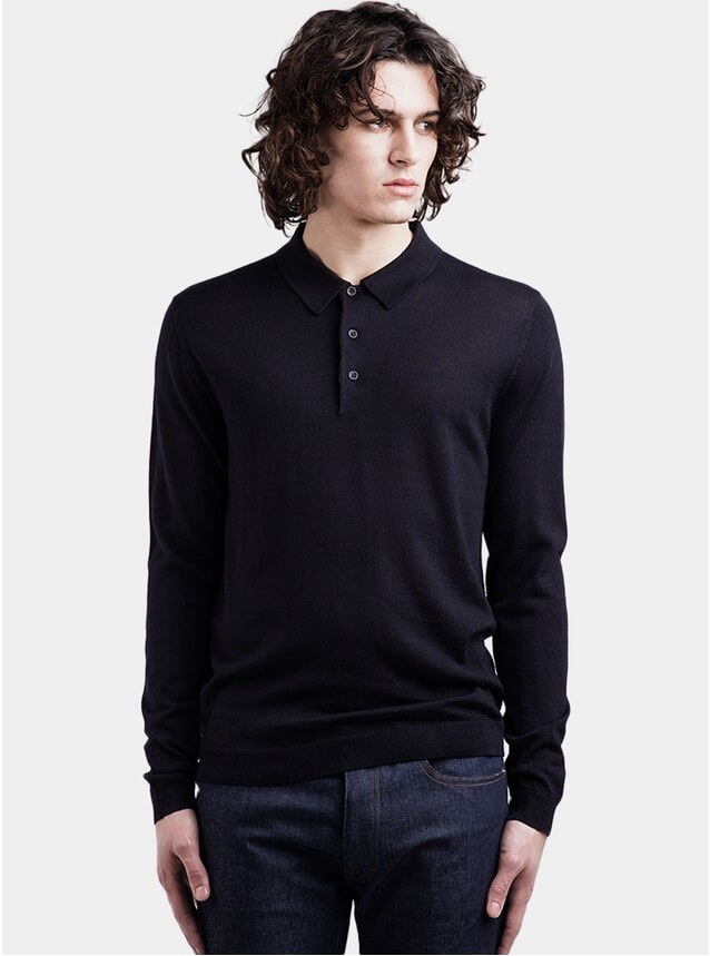 Navy Merino Polo