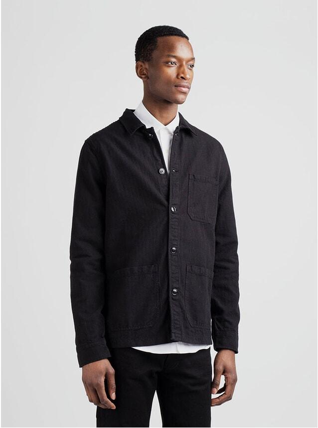 Black Herringbone Original Overshirt