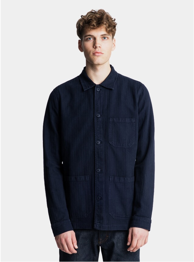 Navy Herringbone Original Overshirt