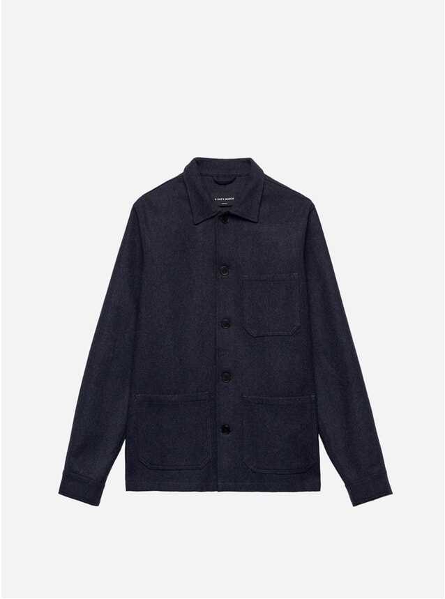 Navy Melange Wool Original Overshirt
