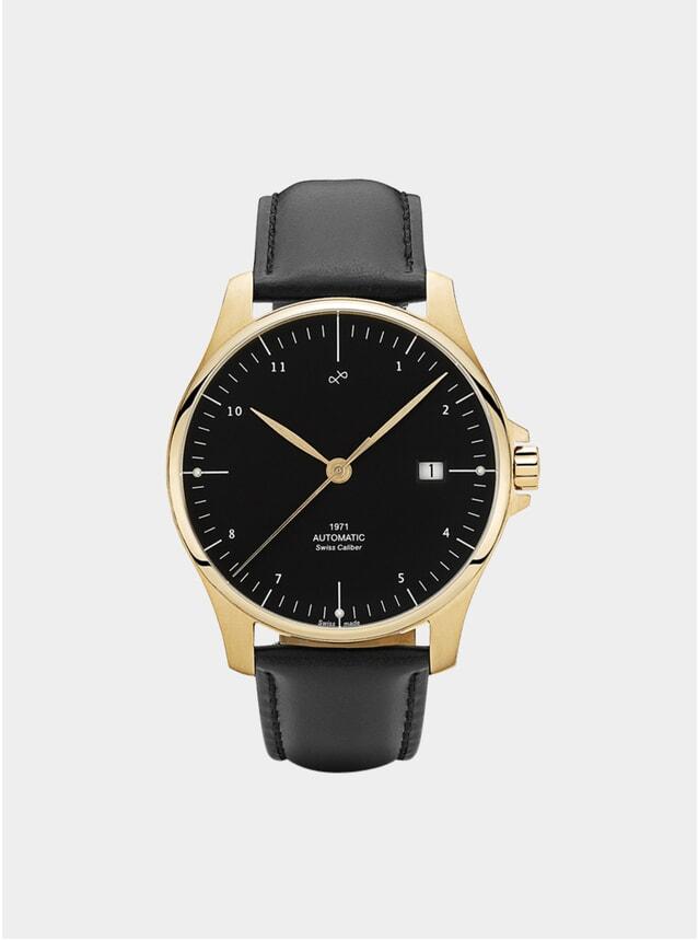 Black / Gold 1971 Swiss Made Automatic Watch