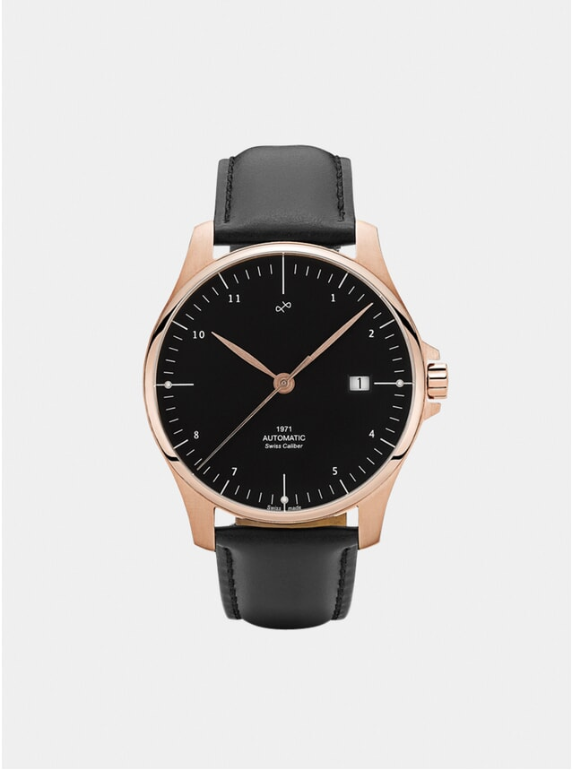 Black / Rose Gold 1971 Swiss Made Automatic Watch