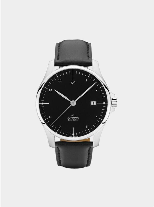 Black / Steel 1971 Swiss Made Automatic Watch
