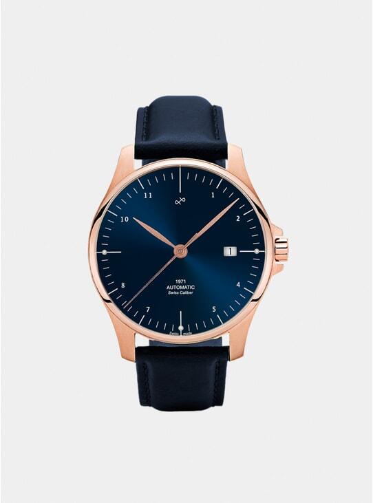 Night Blue Sunray / Rose Gold 1971 Swiss Made Automatic Watch