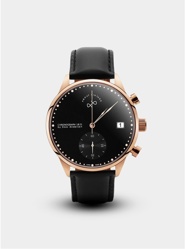 Rose Gold / Black 1821 Chronograph Watch