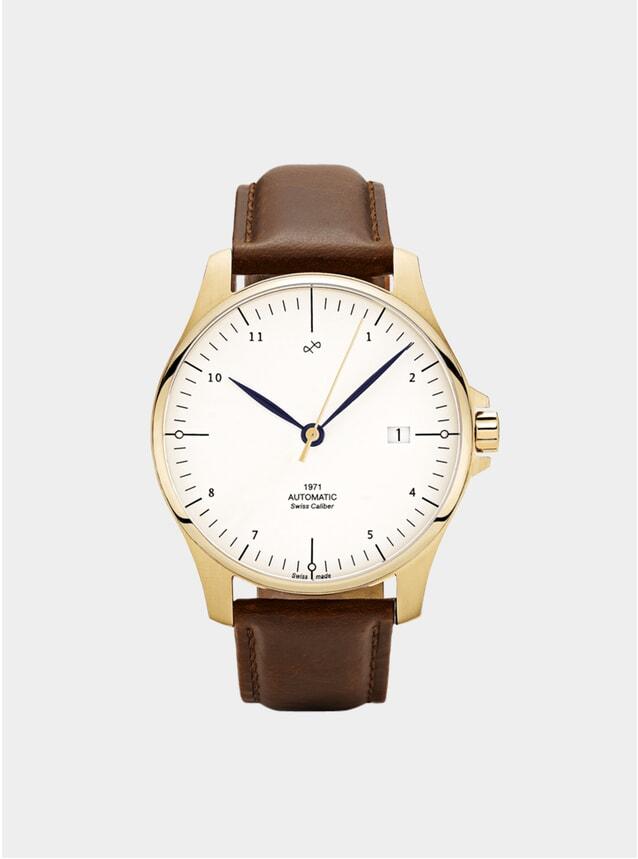 White / Gold 1971 Swiss Made Automatic Watch