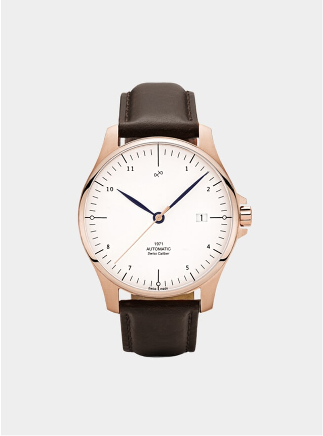 White / Rose Gold 1971 Swiss Made Automatic Watch
