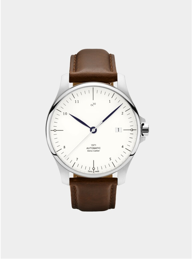 White / Steel 1971 Swiss Made Automatic Watch