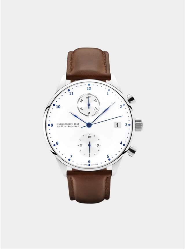 White / Steel / Brown 1815 Chronograph Watch