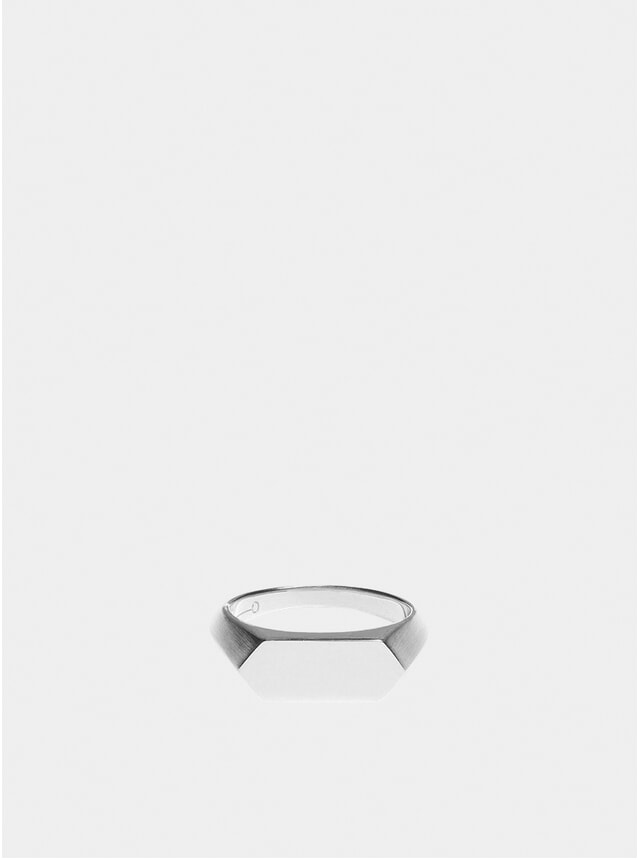 Silver Hex Signet Ring