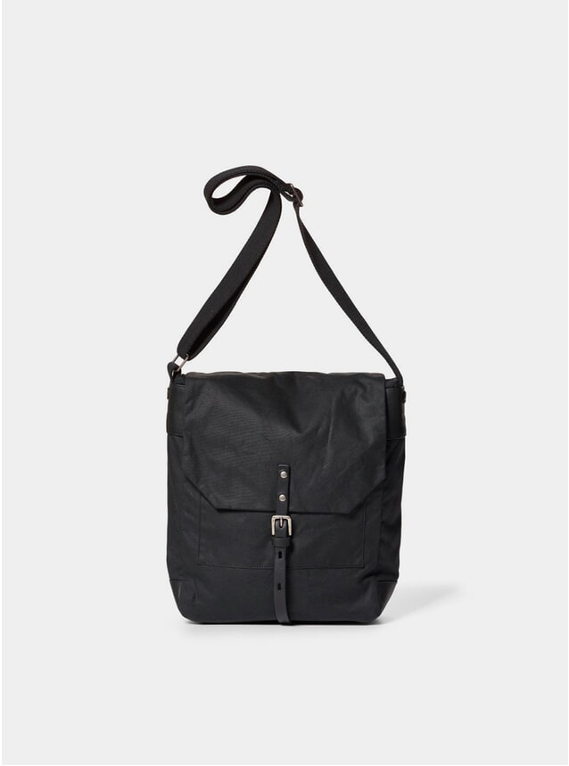 Black Waxed Cotton Jonny Satchel