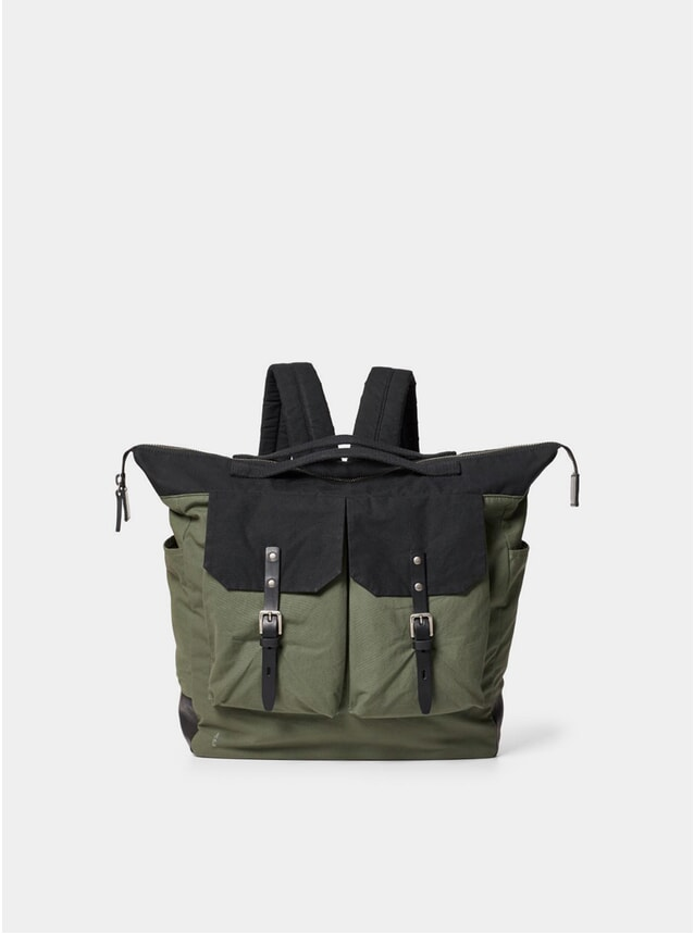 Olive / Black Large Frank Waxed Cotton Rucksack
