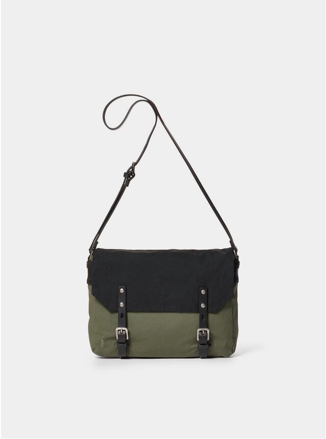 Olive / Black Small Jeremy Waxed Cotton Satchel