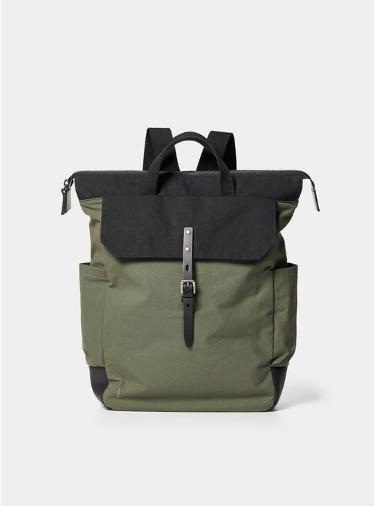 Olive / Black Waxed Fin Cotton Backpack