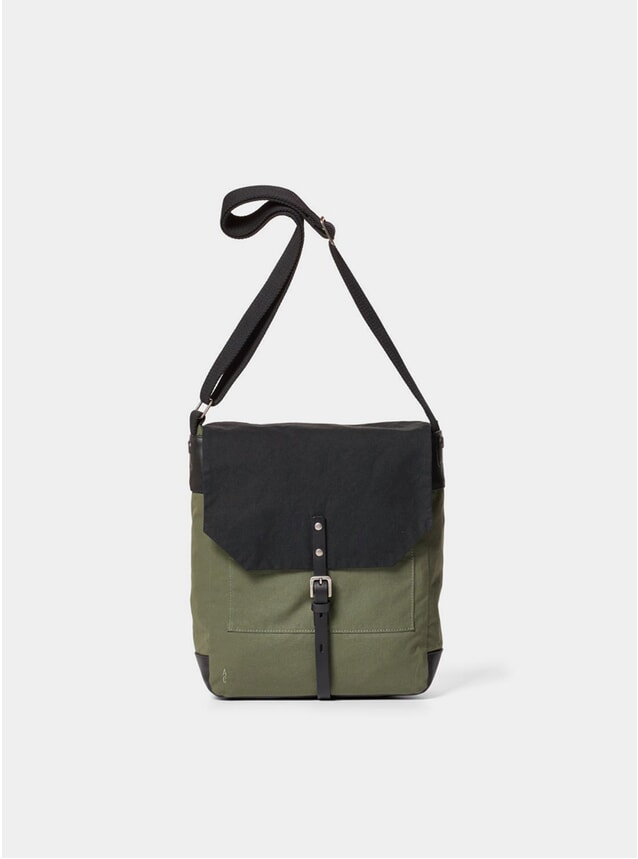Ollive / Black Jonny Waxed Cotton Satchel