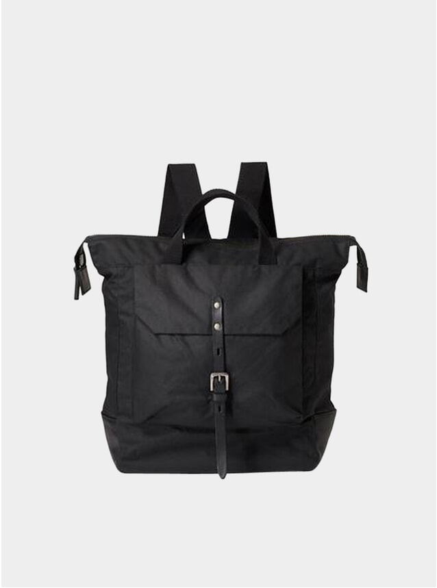 Black Frances Waxed Cotton Rucksack