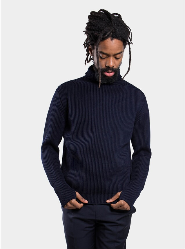 Navy Blue Summertical Turtleneck