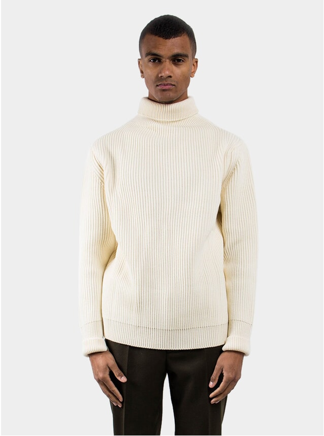 Off White Symmertical Turtleneck