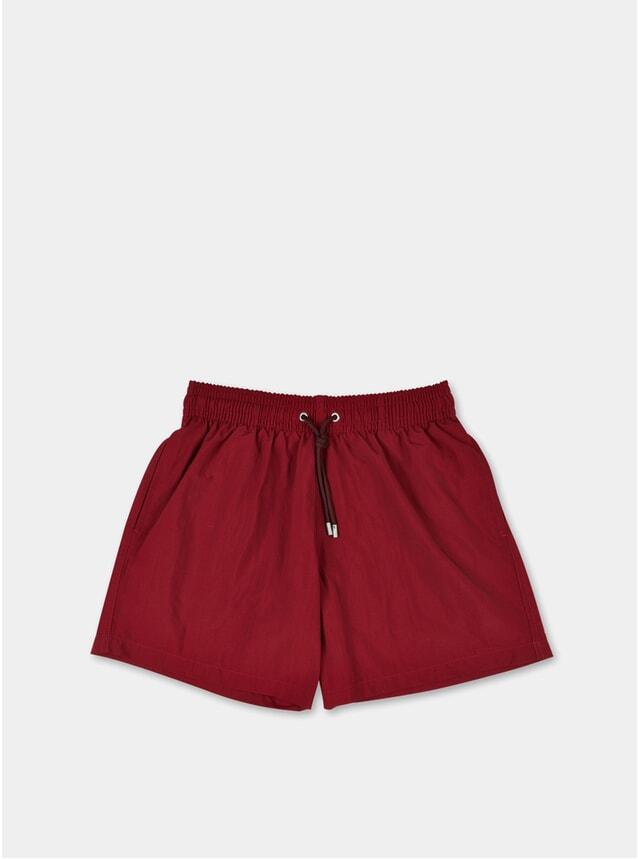 Dark Red Plain Swim Shorts