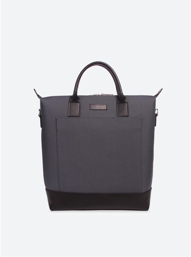 Cordura Grey / Black Leather Tiquetonne Tote Bag
