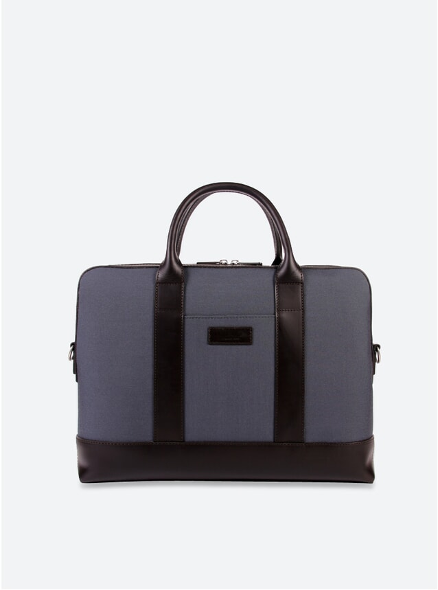 Cordura Grey / Cuir Marron Montorgueil Briefcase