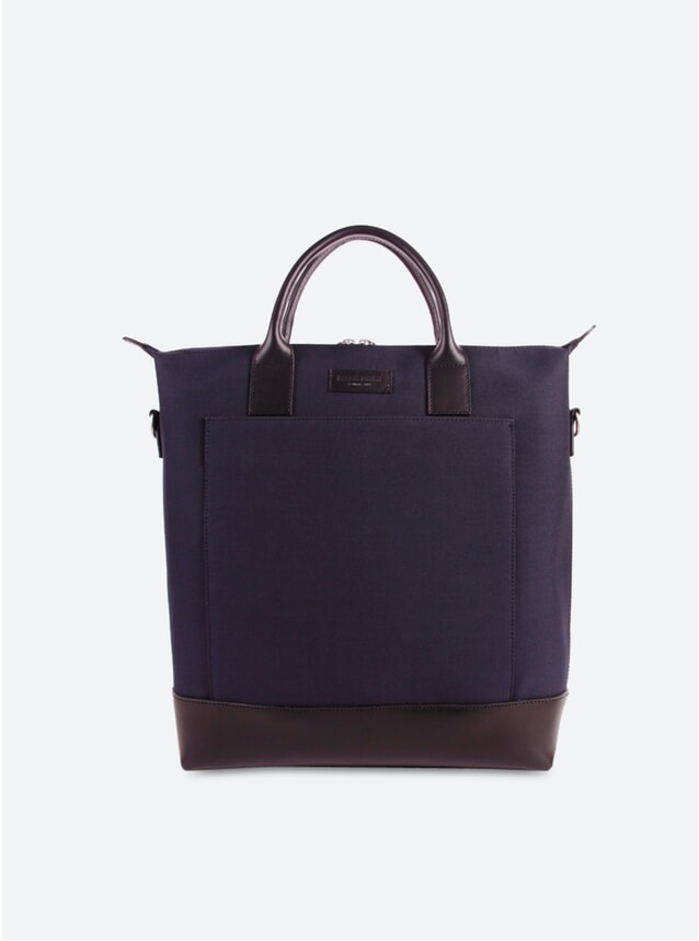 Navy Blue / Black Leather Tiquetonne Tote Bag