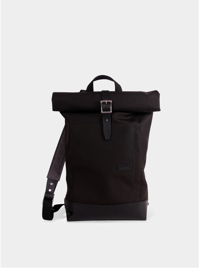 Cordura Noir / Cuir Noir Caulaincourt Roll-Up Backpack