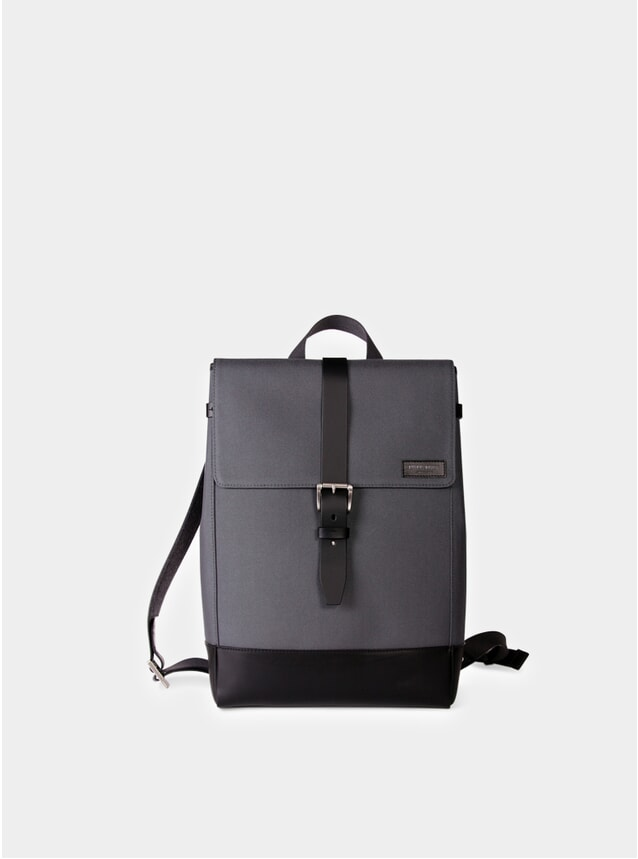 Grey Cordura / Black Leather Menilmontant Backpack