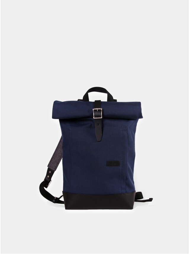 Navy Cordura / Black Leather Caulaincourt Roll-Up Backpack