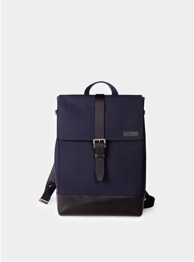 Navy Cordura / Black Leather Menlimontant Backpack