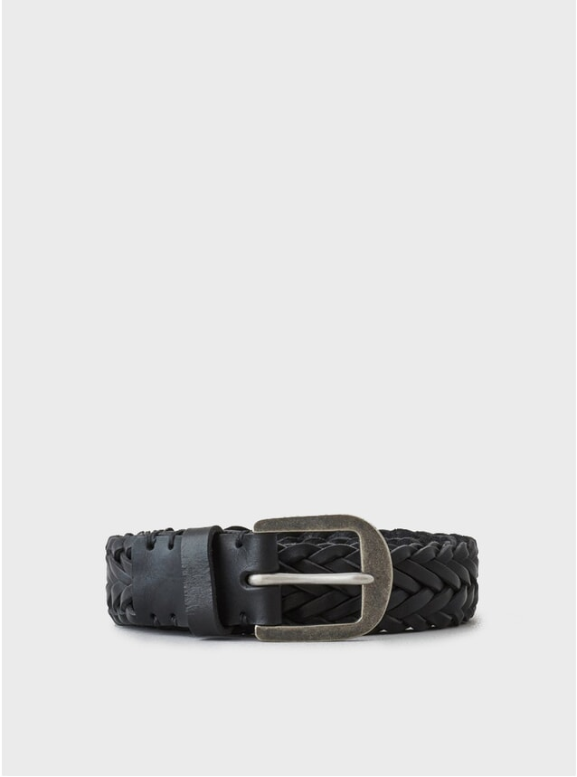 Black / Pewter Buckle Braided Belt